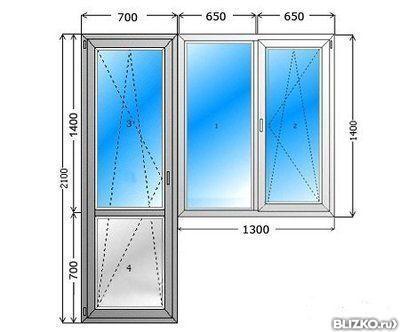 Балконный блок (окно 1300х1400, дверь 700х2100) от компании .