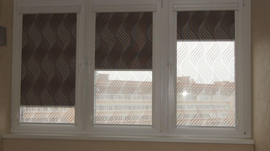 двойные рулонные шторы на окна в кабинете от компании дизайн
